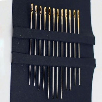 12pcs /set Sewing Needles Multi-size Side Opening Stainless Steel Darning Sewing Household Hand Tools Diy Jewelry Accessories 12pcs blind multi size needles gold tail easy to go through from side hand sewing embroidery tool diy needlework sewing needles