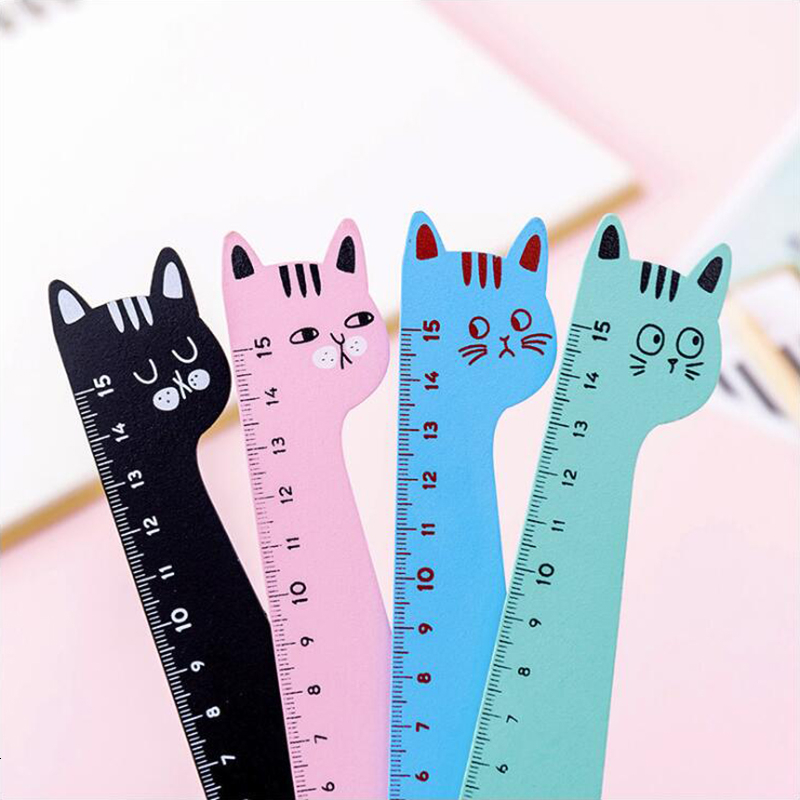 Colorful Cat Wooden Material Ruler Small Fresh Style Office Stationery And School Supplies 15cm Length 1PCS
