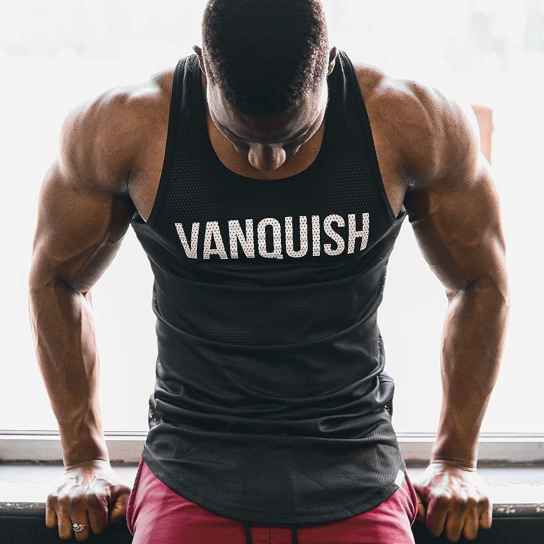 Vanquish GYM 2019 Compression   Tank     Tops   Mesh Breathable Suits Men's Bodybuilding Fitness Gyms Vest See Though Sleeveless Shirt