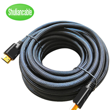 Shuliancable ארוך HDMI כבל 20m 15m 10m 7.5m 5m ניילון צמת כבל HDMI 1080P 3D זהב מצופה כבל במהירות גבוהה עבור HD טלוויזיה XBOX PS3