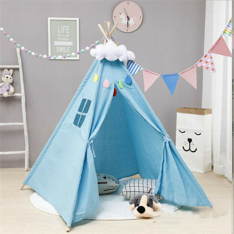 1.6m Children's Tent Tipi Large Unbleached Canvas Original Kids Tent House Folding Indoor Baby Game House India Triangle Tents