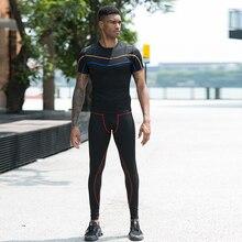 Новинка, компрессионный спортивный костюм для бодибилдинга, для фитнеса, черная футболка для бега, штаны, леггинсы, мужская спортивная одежда, Demix, спортивный костюм для спортзала