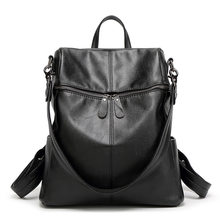 Anti-theft Women Backpack 100% Genuine Leather Black Travel Bag Big Schoolbag For Girls Fashion Female Knapsack Laptop New C1160(China)