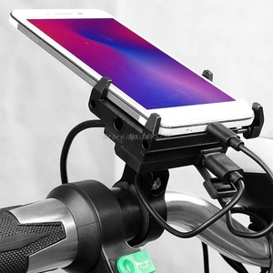 Image 4 - Aluminium Waterproof 12V Motorcycle Bicycle Cell Phone Holder with USB Charger Handlebar Bracket Mount for 4 6.7 inch Phone