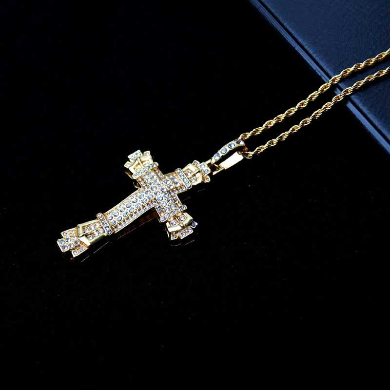 Luxury diamond inlaid cross Cuban pendant golden hip hop style Titanium Jesus Necklace Fashion punk jewelry for men and women