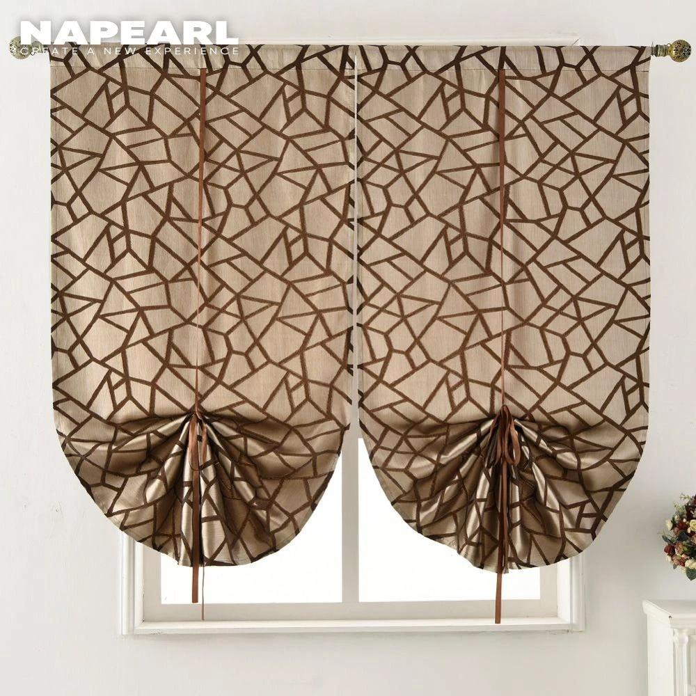 Napearl Short Kitchen Curtain Jacquard Tie Up Valance Panel Modern Geometric Design Black Brown Gray Door Roman Short Kitchen Curtains Designer Kitchen Curtainskitchen Curtains Aliexpress