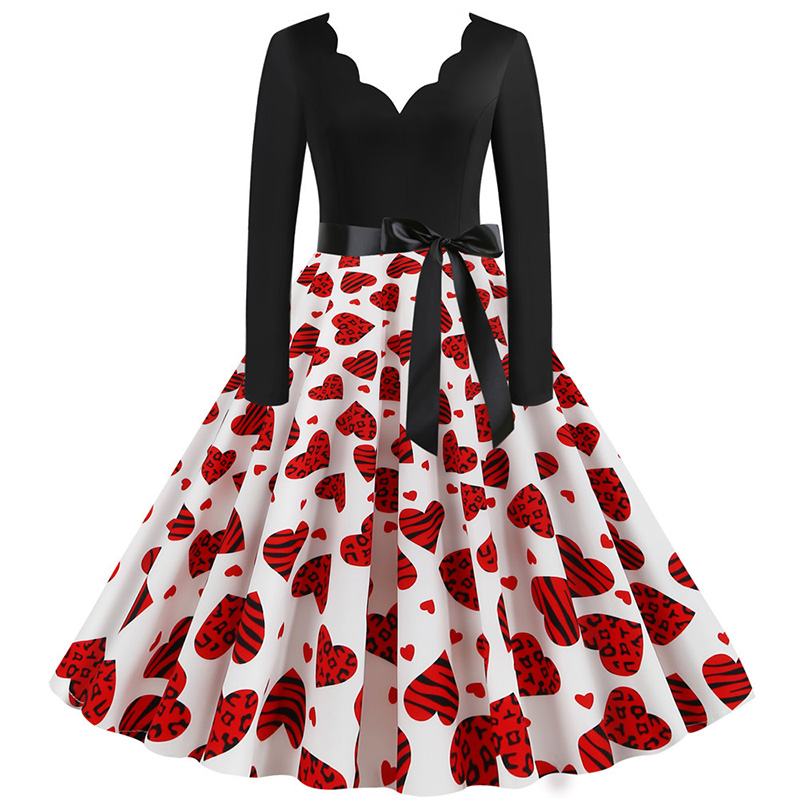 Women Long Sleeve Winter Vintage Dresses Sexy Black Music Note Print V-neck Rockabilly Pin up Party Dress Vestidos Plus size 625