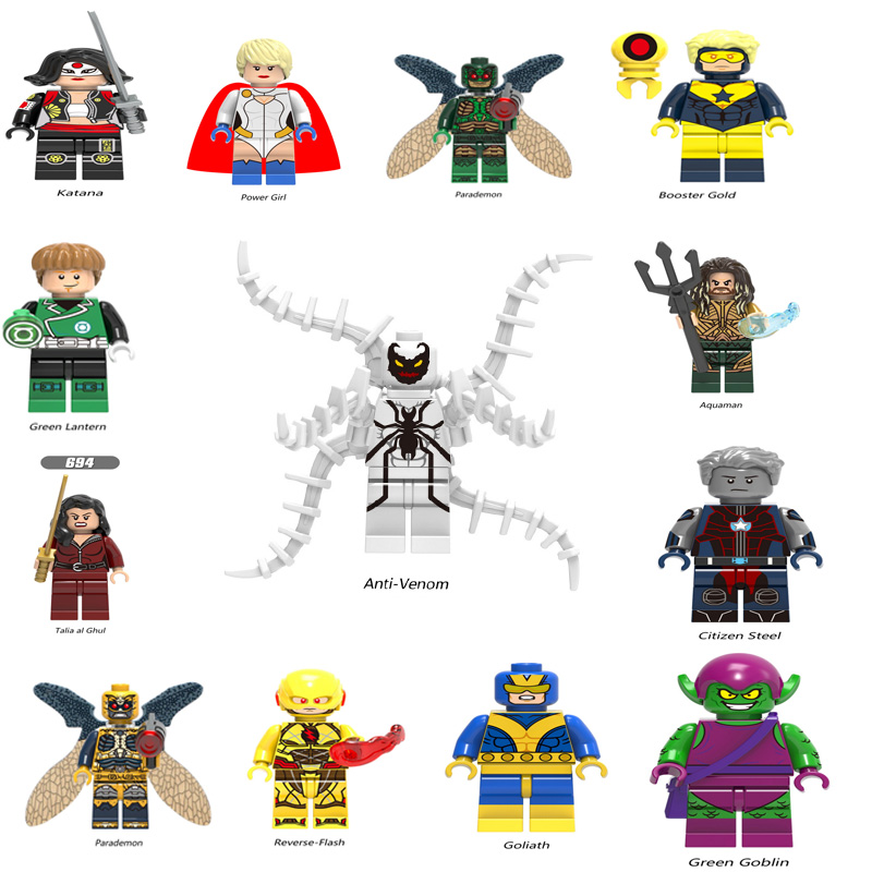 Super Heroes Legoingly Figure Mini Avengers Marvel DC Figures Anti-Venom Blue Beetle Giganta Bizarro Aquaman Cyborg Kids Toys
