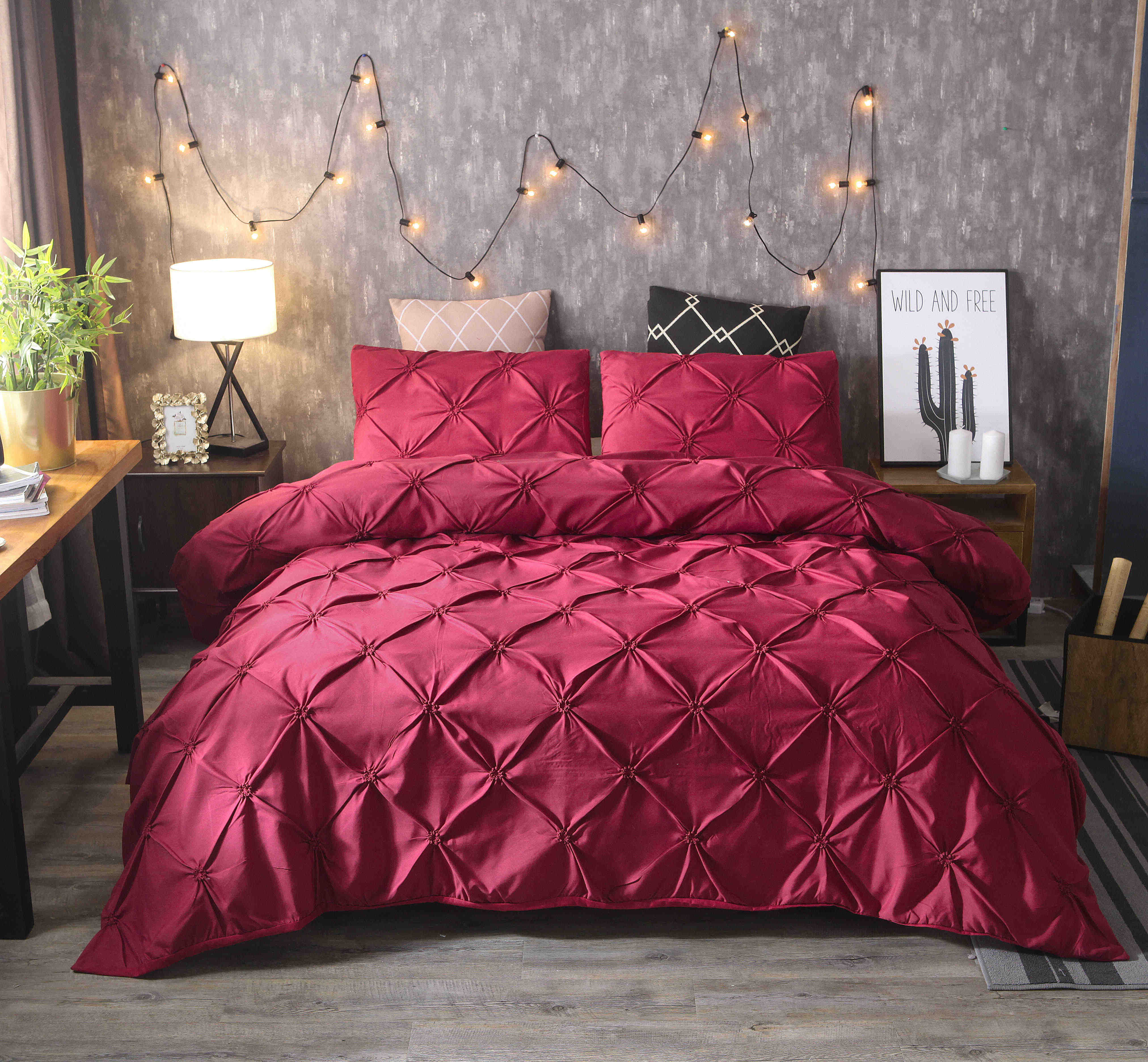 Pinch Pleat Bedding Set Cotton Luxury Super Soft Duvet And Pillowcases Comforter Bedding Sets Queen King Size Bed Cover Set Bedding Sets Aliexpress