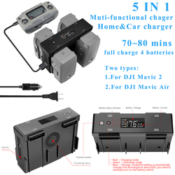5IN1 Multi-function Home Car Battery Balance Charger Digital Display Charging Hub for DJI Mavic 2 Pro Zoom  Air Drone Accessory
