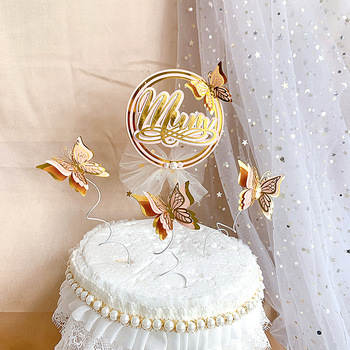 3pcs Rose Gold Butterflies Cake Decoration Happy Mother`s Day Topper for Dessert Cupcake Toppers Supplies