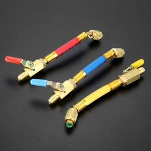 """Image 1 - 3Pcs 7 """"1/4"""" SAE R134A R410a 황동 AC 냉매 HVAC AC 충전 호스 (볼 차단 밸브 포함) 170mm 600Psi"""