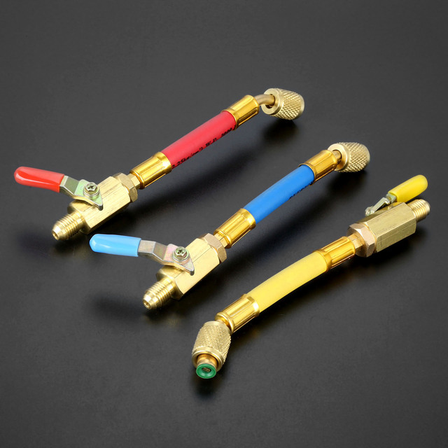 """3Pcs 7 """"1/4"""" SAE R134A R410a 황동 AC 냉매 HVAC AC 충전 호스 (볼 차단 밸브 포함) 170mm 600Psi"""