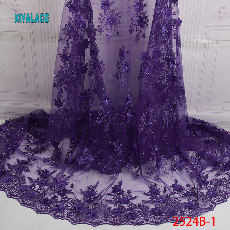 Nigerian Lace Fabric High Quality 3D Tulle Mesh Lace Fabric Embroidery African Wedding Lace Fabric For French Lace YA2524B-1