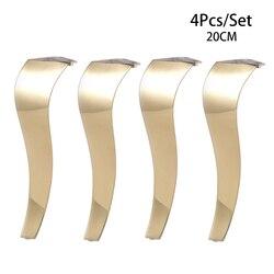 4 Uds taburete de acero inoxidable 20CM brillante Dorado europeo para baño té y café taburete Bar sofá silla pierna tipo S