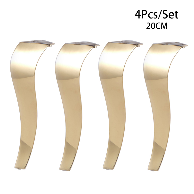 4Pcs Stainless Steel 20CM Shiny European Gold Furniture Bath Tea Coffee Stool Bar Sofa Chair Leg S Type