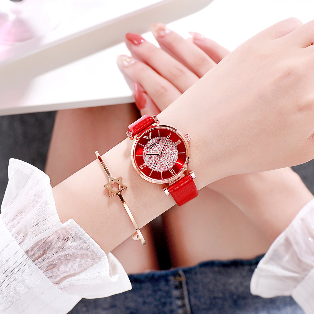 Tephea Top Brand Luxury Watches Women Alloy Analog Quartz Red Ladies Wrist Watch Rhinestone Leather Strap Purple Relogio 2019