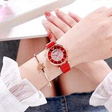 Tephea Top Brand Luxury Watches Women Alloy Analog Quartz Red Ladies Wrist