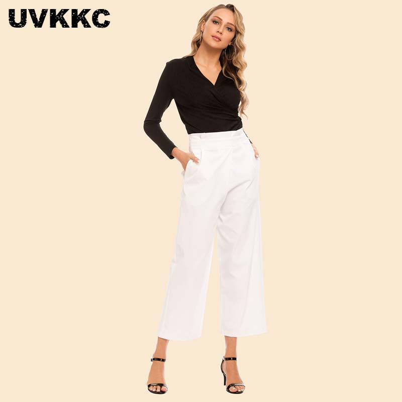 Uvkkc Women Autumn Trousers Women High Waist Loose Harem Pants Women Button Elastic Waist White Fashion Casual Pants For Women