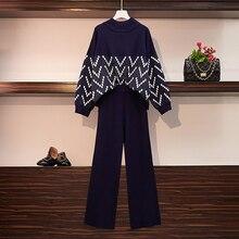 Женские свободные трикотажные полосатые свободные пуловеры размера плюс со стоячим воротником, спортивный костюм+ широкие брюки, комплект из 2 предметов, зимние вязаные штаны, костюмы