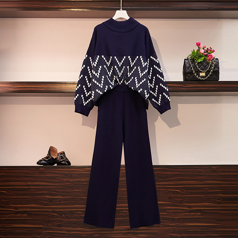 Plus Size Women Stand Collar Loose Knitted Striped Loose Pullovers Tracksuit + Wide Leg Trousers 2PCS Set Winter Knit Pant Suits