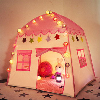 Kids Indoor Cartoon Pyramid Teepee Tent With Colorful Light Ball Flag Princess Game Toy Playhouse for Girls Home Use Yurt Tents