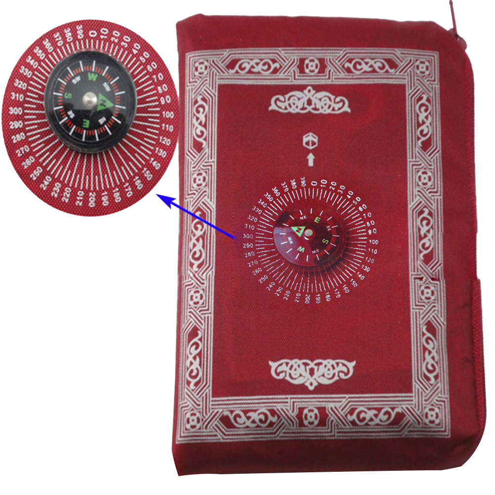Image 4 - 100x60cm Four colors Easy Carry mubarak Muslim Prayer Rug Mat Islamic For Pocket Folding Blanket with for Compass