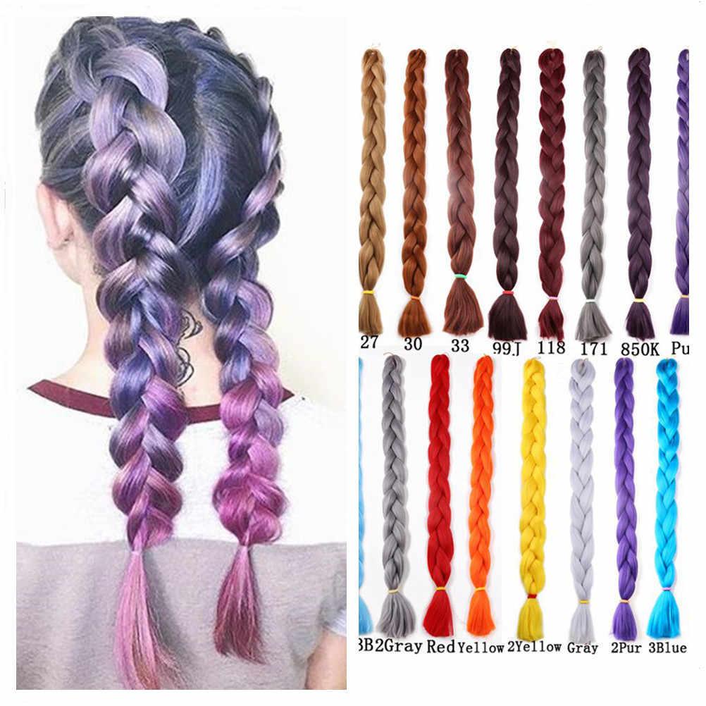 """41 """"165g Jumbo warkocze włosy włosy syntetyczne do warkoczy rozszerzenia Kanekalon włosy czysty kolor różowe fioletowe włosy Expo City"""