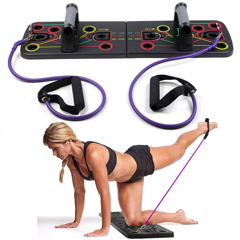 Push Up Rack Board With Resistance Band Comprehensive Fitness Training Tool Body Building Board System Fitness Gym Body Training