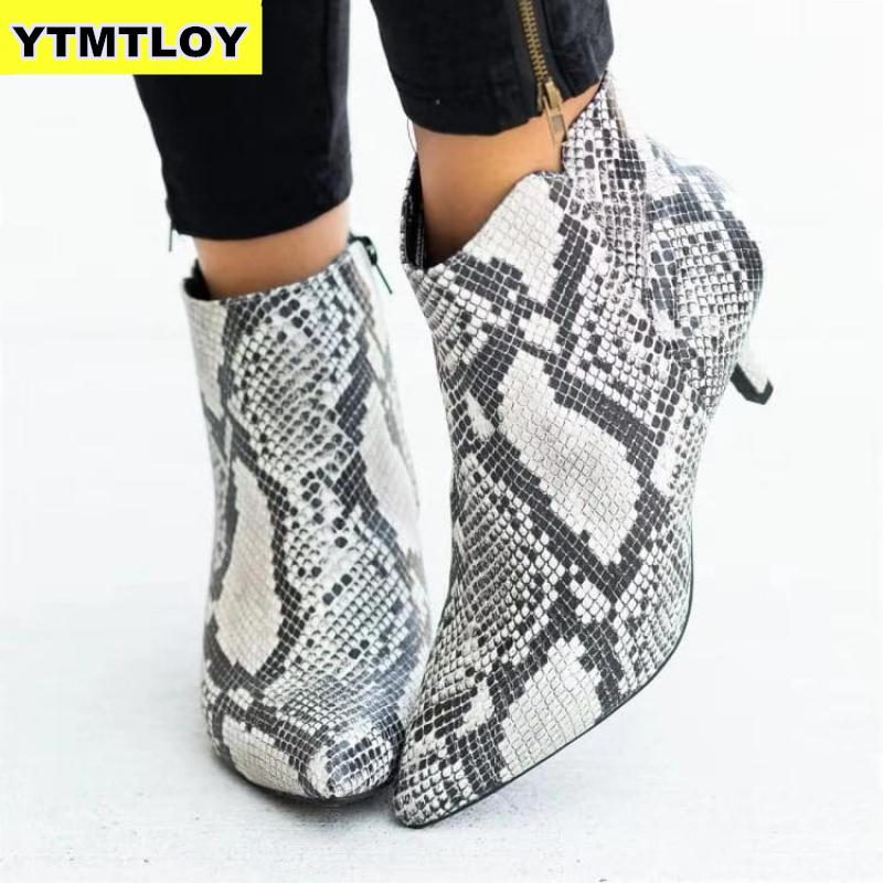 Las nuevas mujeres tobillo botas de leopardo de las mujeres del dedo del pie puntiagudo señoras tacón alto grueso zapatos de mujer calzado de mujer Plus tamaño 35 43 serpiente