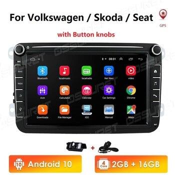 Android 10 2G+16GB 2 Din Car radio Multimedia Player GPS Stereo For Volkswagen Skoda Seat Octavia golf 5 6 touran passat B6 polo