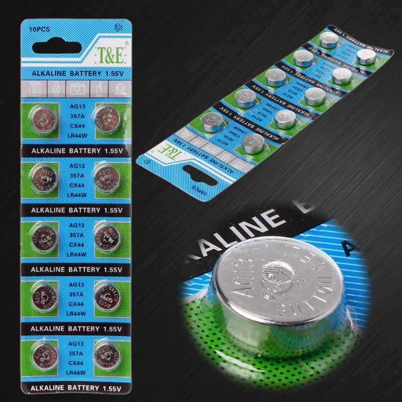 10 шт., кнопочные батарейки AG13 A76 LR44 357A S76E G13, 1,55 в