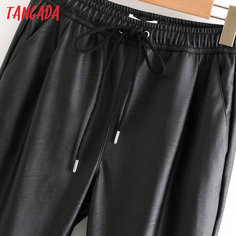 Tangada women black PU leather pants stretch waist drawstring tie pockets female autumn winter elegant trousers HY02 30
