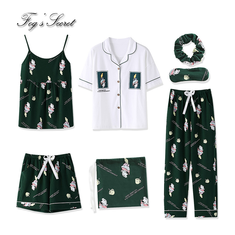 7 pcs Women   pajamas     sets   loose housewear health cotton short tank tops trousers sleepwear pijama feminino