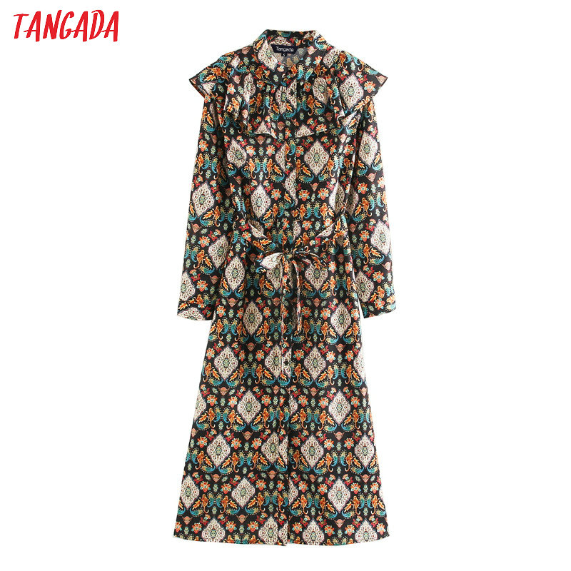 Tangada European Fashion Women Ruffles Print Vintage Dress With Slash 2020 Long Sleeve Ladies Midi Dress Vestidos XN271