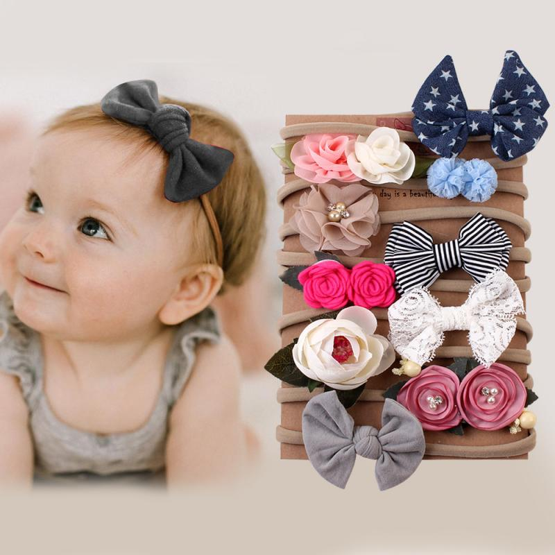10pcs/lot Kids Headband Bow For Girl Rabbit Ear Hairbands Turban Knot Kids Turbans Accessoire