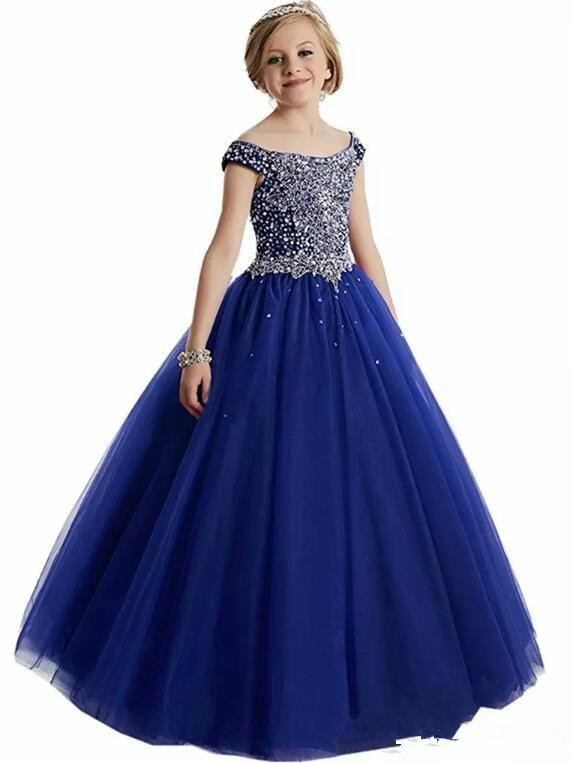 Blue Girls Pageant Dresses Ball Gown Off The Shoulder Tulle Beaded Crystals Long Flower Girl Dresses For Weddings Little Girls