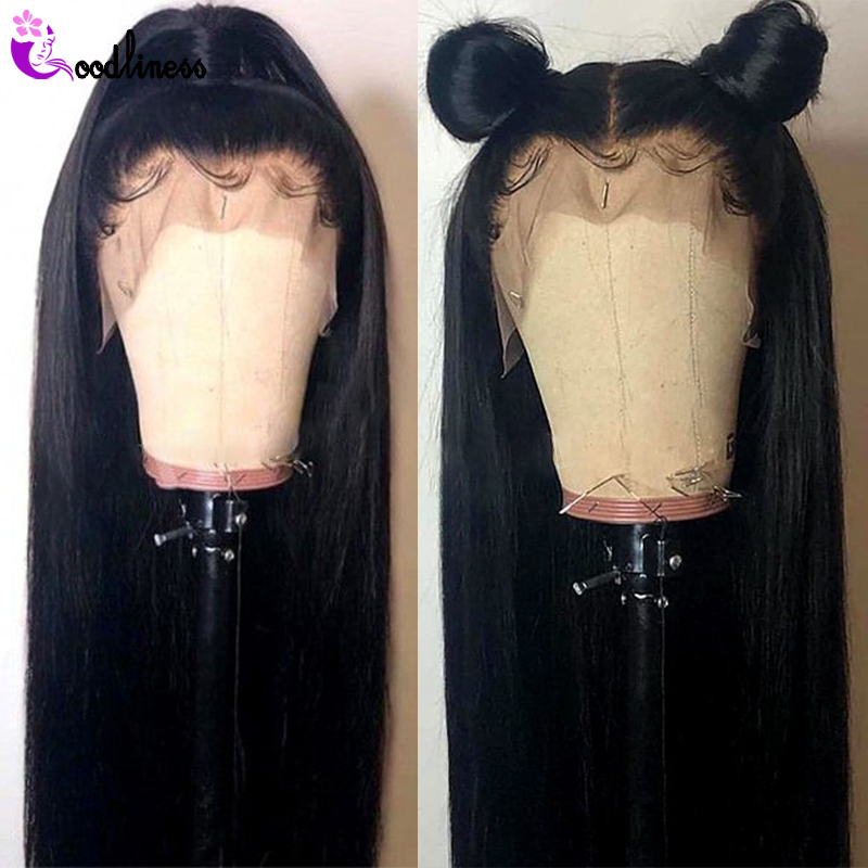 Transparent HD Lace Frontal Wig 13x4 Brazilian Straight Lace Front Wig Human Hair Wigs Pre Plucked With Baby Hair Remy Black Wig