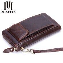 MISFITS Vintage Long Clutch Wallets Genuine Leather Organizer Purse Zipper Pocket Business Male Cell Phone Money Bag Card Holder