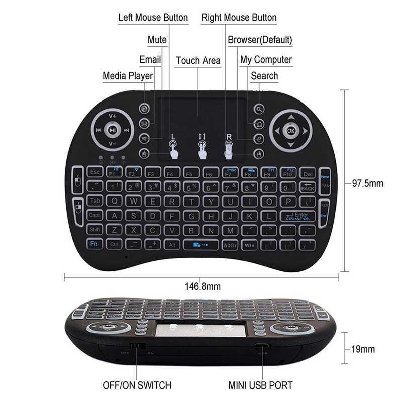 3 لون الخلفية I8 لوحة مفاتيح لاسلكية صغيرة 2.4ghz ماوس هوائي مع جهاز التحكم عن بعد ل تي في بوكس أندرويد PC/4 كمبيوتر محمول الإنجليزية الروسية