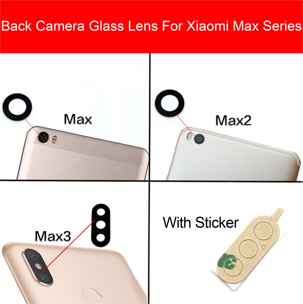 Back Camera Glass Lens Cover For Xiaomi Mi Max 2 3 Rear Camera Lens Cover + Adhesive Sticker Phone Replacement Repair Parts