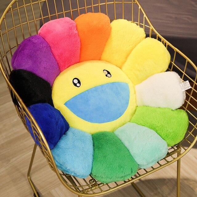 ญี่ปุ่นSunflower Face Plushเบาะรองนั่งตุ๊กตาสายรุ้งสีคู่ดอกไม้เบาะเก้าอี้เด็กสาวโรงเรียนสำนักงานเบาะ