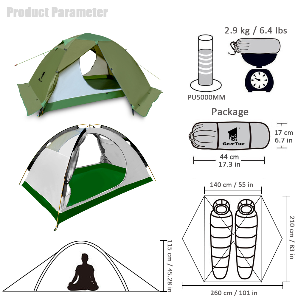 GeerTop Two Person 4 Season Outdoor Camping Tent with Mosquito Net Ultralight Folding Hiking Tents Tourist Awning 2 Places Tent in Tents from Sports Entertainment