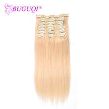 BUGUQI Hair Clip In Human Extensions Brazilian #613 Remy 16- 26 Inch 100g Machine Made