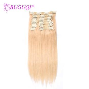 цена на BUGUQI Hair Clip In Human Hair Extensions Brazilian #613 Remy 16- 26 Inch 100g Machine Made Clip Human Hair Extensions