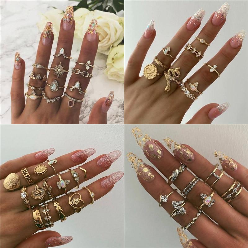 15 Pcs/set Women Fashion Rings Hearts Fatima Hands Virgin Mary Cross Leaf Hollow Geometric Crystal Ring Set Wedding Jewelry