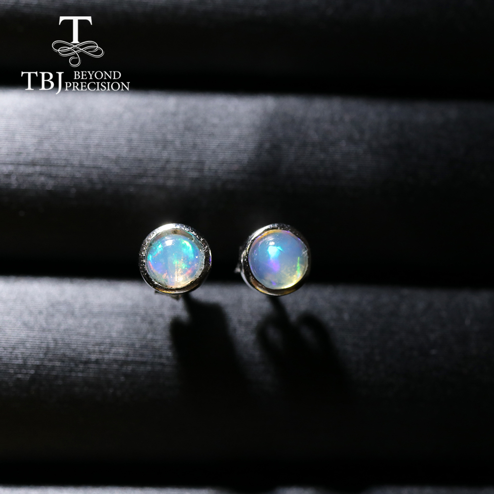 TBJ,Simple Opal earring Round 4mm Natural Ethiopia Opal gemstone Jewelry 925 sterling silver for girls daughter nice gift