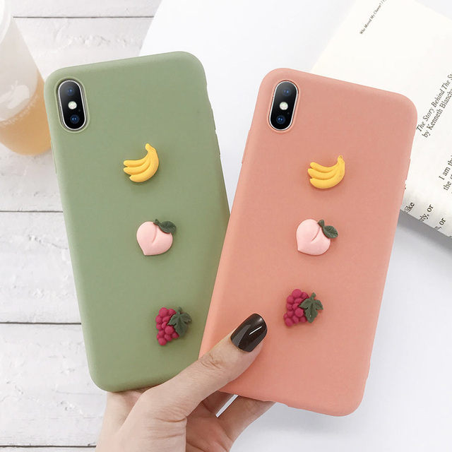 USLION 3D Candy Color Avocado Letter Soft Phone Case For iPhone 11 Pro XS MAX XR