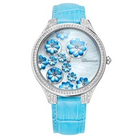 Devena Large dial female watches 3D flower luxury quartz watch woman leather bracelet watch white gold diamond clock waterproof