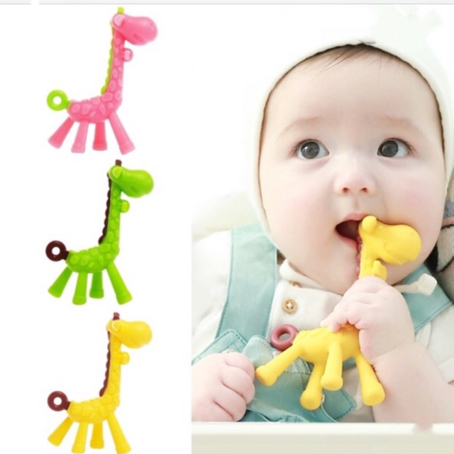 1PC Silicone Baby Teether Giraffe Teething Toy Stick Kids BPA Free Safe Infant Pacifier Dental Care Chew Toy Chain Accessories